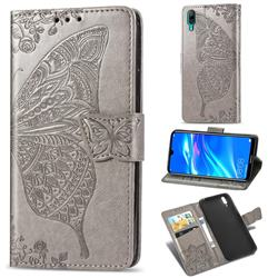 Embossing Mandala Flower Butterfly Leather Wallet Case for Huawei Enjoy 9 - Gray