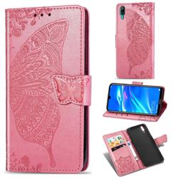Embossing Mandala Flower Butterfly Leather Wallet Case for Huawei Enjoy 9 - Pink