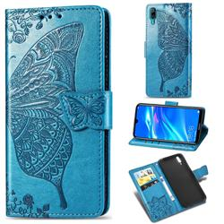 Embossing Mandala Flower Butterfly Leather Wallet Case for Huawei Enjoy 9 - Blue