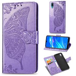 Embossing Mandala Flower Butterfly Leather Wallet Case for Huawei Enjoy 9 - Light Purple