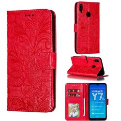 Intricate Embossing Lace Jasmine Flower Leather Wallet Case for Huawei Enjoy 9 - Red