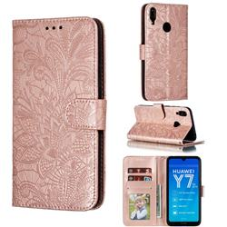 Intricate Embossing Lace Jasmine Flower Leather Wallet Case for Huawei Enjoy 9 - Rose Gold