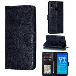 Intricate Embossing Lace Jasmine Flower Leather Wallet Case for Huawei Enjoy 9 - Dark Blue