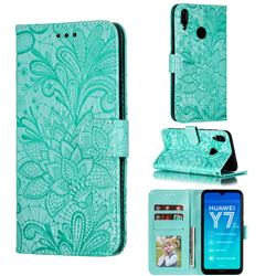 Intricate Embossing Lace Jasmine Flower Leather Wallet Case for Huawei Enjoy 9 - Green
