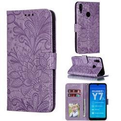 Intricate Embossing Lace Jasmine Flower Leather Wallet Case for Huawei Enjoy 9 - Purple