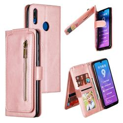 Multifunction 9 Cards Leather Zipper Wallet Phone Case for Huawei Enjoy 9 - Rose Gold