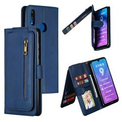 Multifunction 9 Cards Leather Zipper Wallet Phone Case for Huawei Enjoy 9 - Blue