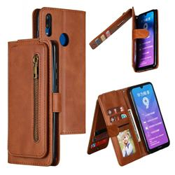 Multifunction 9 Cards Leather Zipper Wallet Phone Case for Huawei Enjoy 9 - Brown