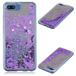 Glitter Sand Mirror Quicksand Dynamic Liquid Star TPU Case for Huawei Honor 10 - Purple