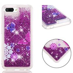 Purple Flower Butterfly Dynamic Liquid Glitter Quicksand Soft TPU Case for Huawei Honor 10