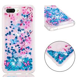 Blue Plum Blossom Dynamic Liquid Glitter Quicksand Soft TPU Case for Huawei Honor 10