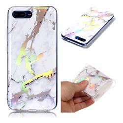 White Marble Pattern Bright Color Laser Soft TPU Case for Huawei Honor 10