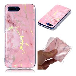 Powder Pink Marble Pattern Bright Color Laser Soft TPU Case for Huawei Honor 10