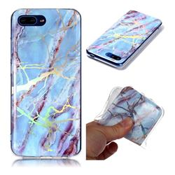 Light Blue Marble Pattern Bright Color Laser Soft TPU Case for Huawei Honor 10