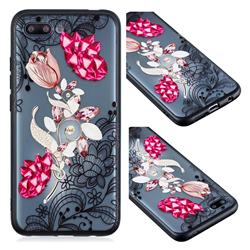 Tulip Lace Diamond Flower Soft TPU Back Cover for Huawei Honor 10