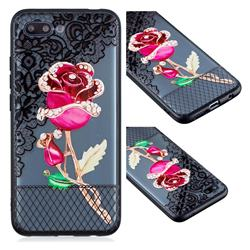 Rose Lace Diamond Flower Soft TPU Back Cover for Huawei Honor 10