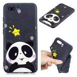 Cute Bear 3D Embossed Relief Black TPU Cell Phone Back Cover for Huawei Honor 10