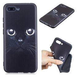 Bearded Feline 3D Embossed Relief Black TPU Cell Phone Back Cover for Huawei Honor 10