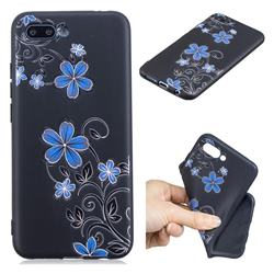 Little Blue Flowers 3D Embossed Relief Black TPU Cell Phone Back Cover for Huawei Honor 10