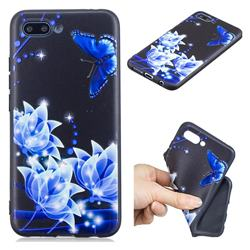 Blue Butterfly 3D Embossed Relief Black TPU Cell Phone Back Cover for Huawei Honor 10