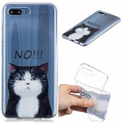Cat Say No Clear Varnish Soft Phone Back Cover for Huawei Honor 10