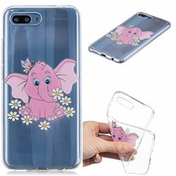 Tiny Pink Elephant Clear Varnish Soft Phone Back Cover for Huawei Honor 10