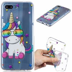 Glasses Unicorn Clear Varnish Soft Phone Back Cover for Huawei Honor 10