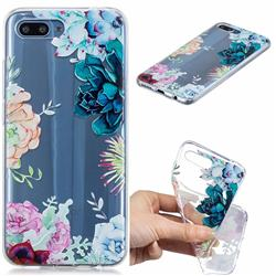 Gem Flower Clear Varnish Soft Phone Back Cover for Huawei Honor 10
