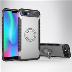 Armor Anti Drop Carbon PC + Silicon Invisible Ring Holder Phone Case for Huawei Honor 10 - Silver