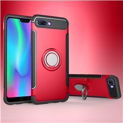 Armor Anti Drop Carbon PC + Silicon Invisible Ring Holder Phone Case for Huawei Honor 10 - Red