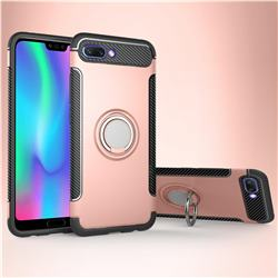 Armor Anti Drop Carbon PC + Silicon Invisible Ring Holder Phone Case for Huawei Honor 10 - Rose Gold