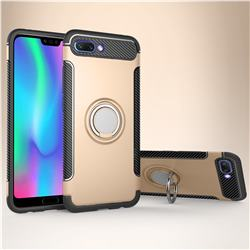 Armor Anti Drop Carbon PC + Silicon Invisible Ring Holder Phone Case for Huawei Honor 10 - Champagne