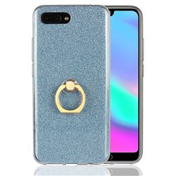 Luxury Soft TPU Glitter Back Ring Cover with 360 Rotate Finger Holder Buckle for Huawei Honor 10 - Blue
