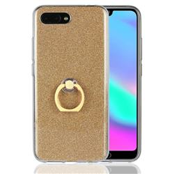 Luxury Soft TPU Glitter Back Ring Cover with 360 Rotate Finger Holder Buckle for Huawei Honor 10 - Golden