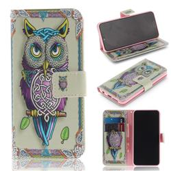 Weave Owl PU Leather Wallet Case for Huawei Honor 10