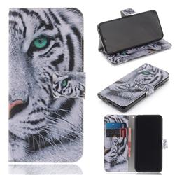 White Tiger PU Leather Wallet Case for Huawei Honor 10