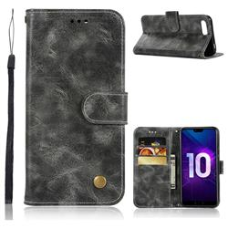 Luxury Retro Leather Wallet Case for Huawei Honor 10 - Gray