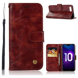 Luxury Retro Leather Wallet Case for Huawei Honor 10 - Wine Red