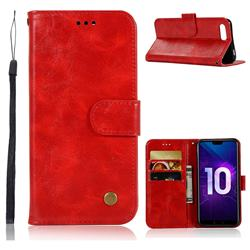Luxury Retro Leather Wallet Case for Huawei Honor 10 - Red