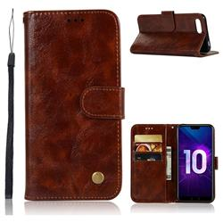 Luxury Retro Leather Wallet Case for Huawei Honor 10 - Brown