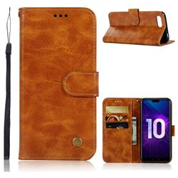Luxury Retro Leather Wallet Case for Huawei Honor 10 - Golden
