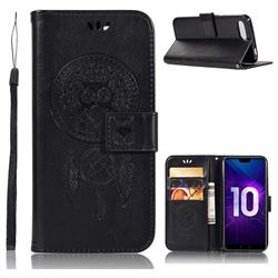 Intricate Embossing Owl Campanula Leather Wallet Case for Huawei Honor 10 - Black
