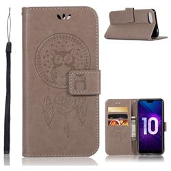 Intricate Embossing Owl Campanula Leather Wallet Case for Huawei Honor 10 - Grey