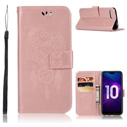 Intricate Embossing Owl Campanula Leather Wallet Case for Huawei Honor 10 - Rose Gold