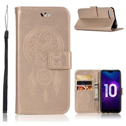 Intricate Embossing Owl Campanula Leather Wallet Case for Huawei Honor 10 - Champagne