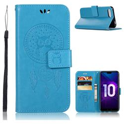 Intricate Embossing Owl Campanula Leather Wallet Case for Huawei Honor 10 - Blue
