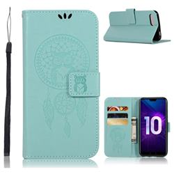 Intricate Embossing Owl Campanula Leather Wallet Case for Huawei Honor 10 - Green