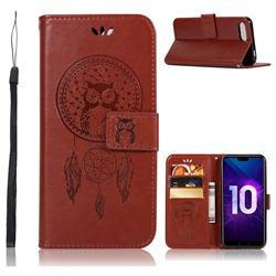 Intricate Embossing Owl Campanula Leather Wallet Case for Huawei Honor 10 - Brown