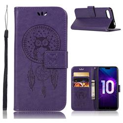 Intricate Embossing Owl Campanula Leather Wallet Case for Huawei Honor 10 - Purple