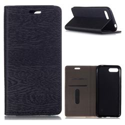 Tree Bark Pattern Automatic suction Leather Wallet Case for Huawei Honor 10 - Black